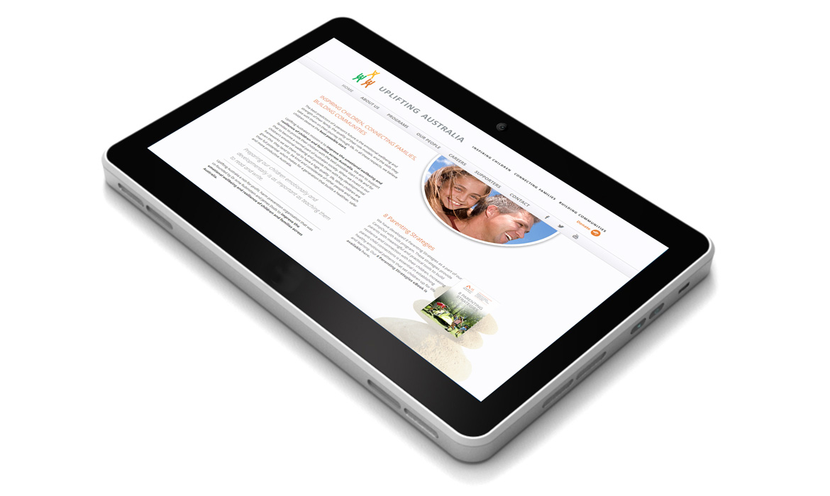 uplifting australia website tablet mockup